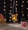 Yellow Metal & Glass Hanging Lantern by Ni Decor