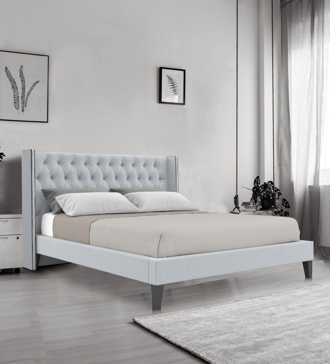 Buy Noa King Size Upholstered Bed In Light Grey Colour By Dreamzz Furniture Online King Size Upholstered Beds Beds Furniture Pepperfry Product
