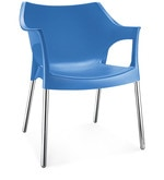 Novella Visitor Chair with Arms in Blue Colour