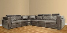 Nova Corner Sectional Sofa with Lounger with Leatherette Upholstery