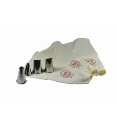 Noor White & Silver Cotton & Stainless Steel 3 Reusable Cake Decoration Icing Bag With 4 Jumbo Nozzles - Set Of 7