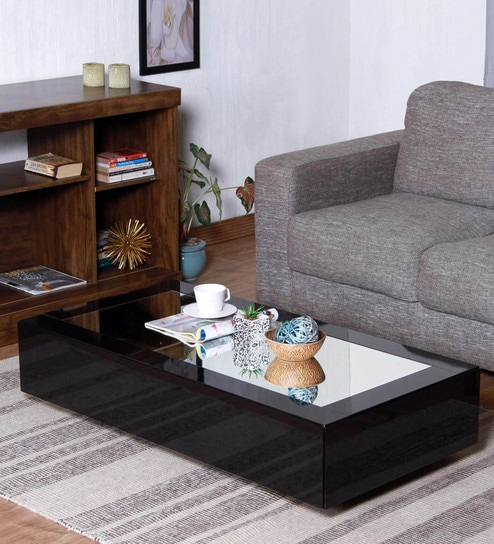 Buy Noa Coffee Table In Glossy Black Finish With Mirrored Top By - Glossy black coffee table