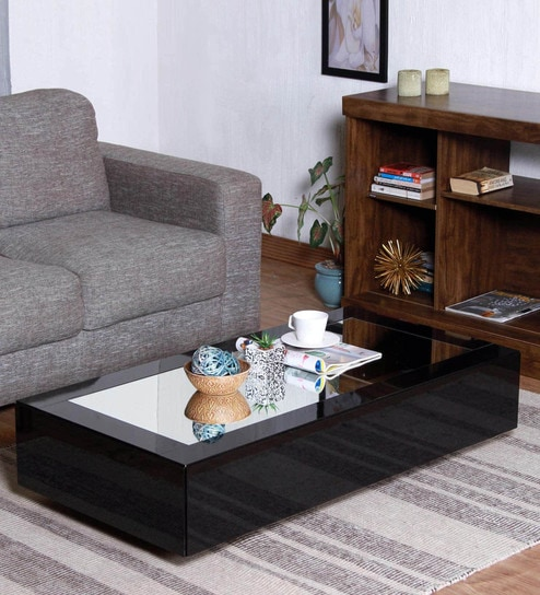 Fantastic Noa Coffee Table In Glossy Black Finish With Mirrored Top By Casacraft Download Free Architecture Designs Ogrambritishbridgeorg