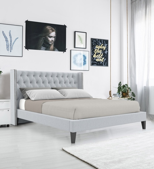 the best attitude 22af4 b381e Noa King size Upholstered Bed in Light Grey Colour by Dreamzz Furniture