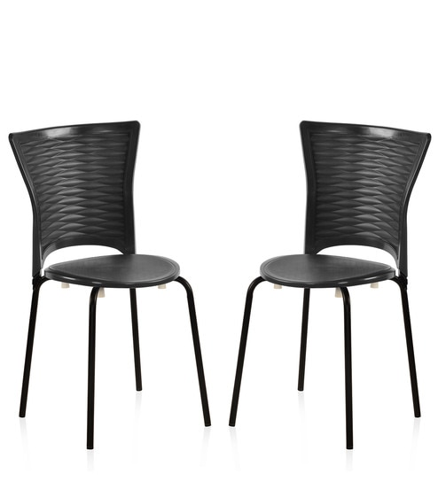 buy novella series 14 chair set of 2 in black colour by nilkamal