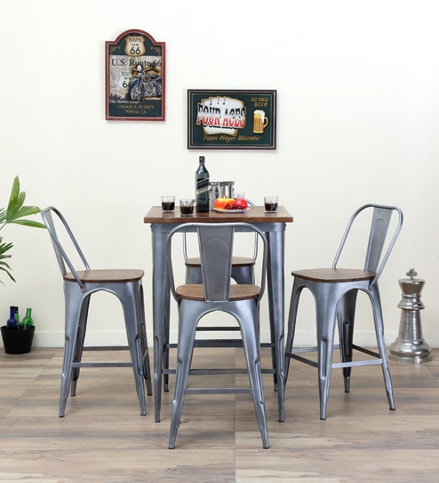Novo Four Seater Bar Set In Zinc Color By Bohemiana