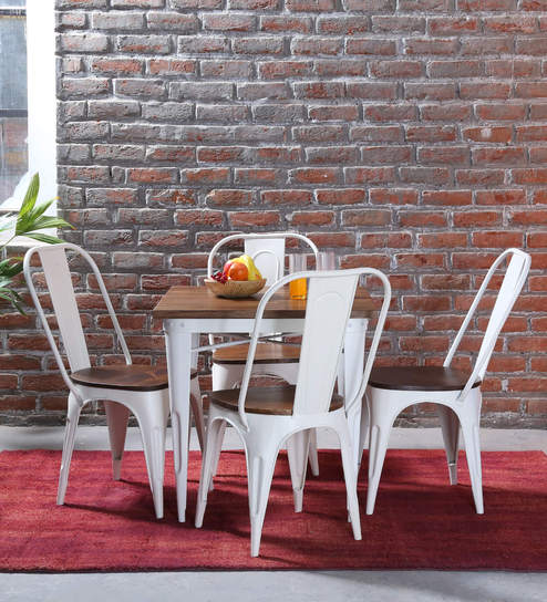Novo Four Seater Dining Set In White Color By Bohemiana