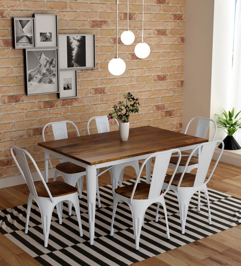 Buy Novo 6 Seater Dining Set In White Colour By Bohemiana Online Industrial 6 Seater Dining Sets Dining Furniture Pepperfry Product