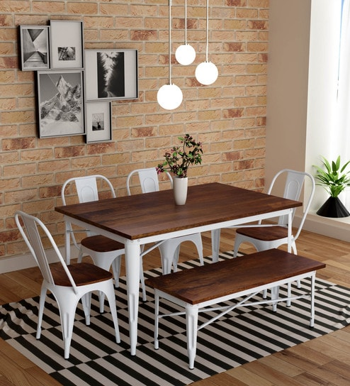 Super Novo 6 Seater Dining Set With Bench In White Colour By Bohemiana Machost Co Dining Chair Design Ideas Machostcouk