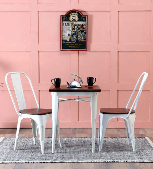 Novo Two Seater Dining Set In White Color By Bohemiana