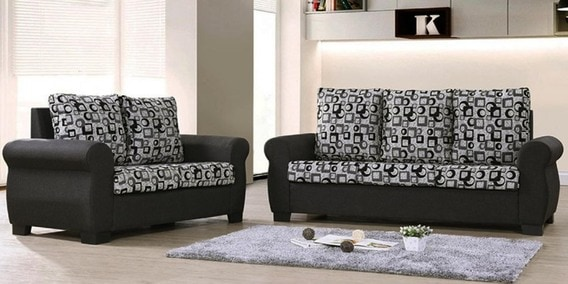 Buy Nora Five Seater Sofa Set 3 2 In Grey Colour By Dhep