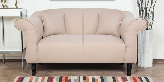 Nottingham Heaven Two Seater Sofa In Beige Colour By Urban Living