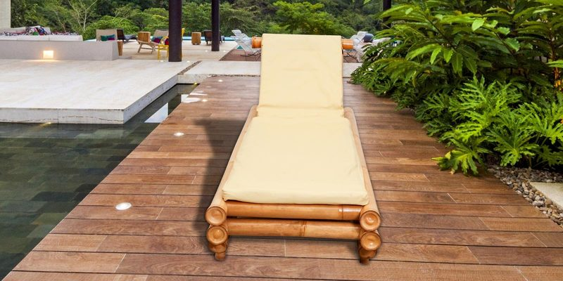 Nobitaa Bamboo Pool-Side Lounger with Cushion by Indigrass