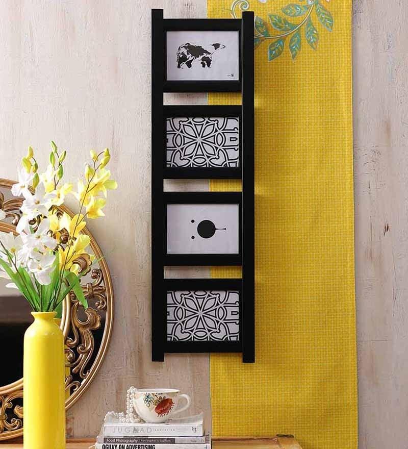 Buy Novel Decorative Ladder Style Wall Hanging Collage black Wood ...