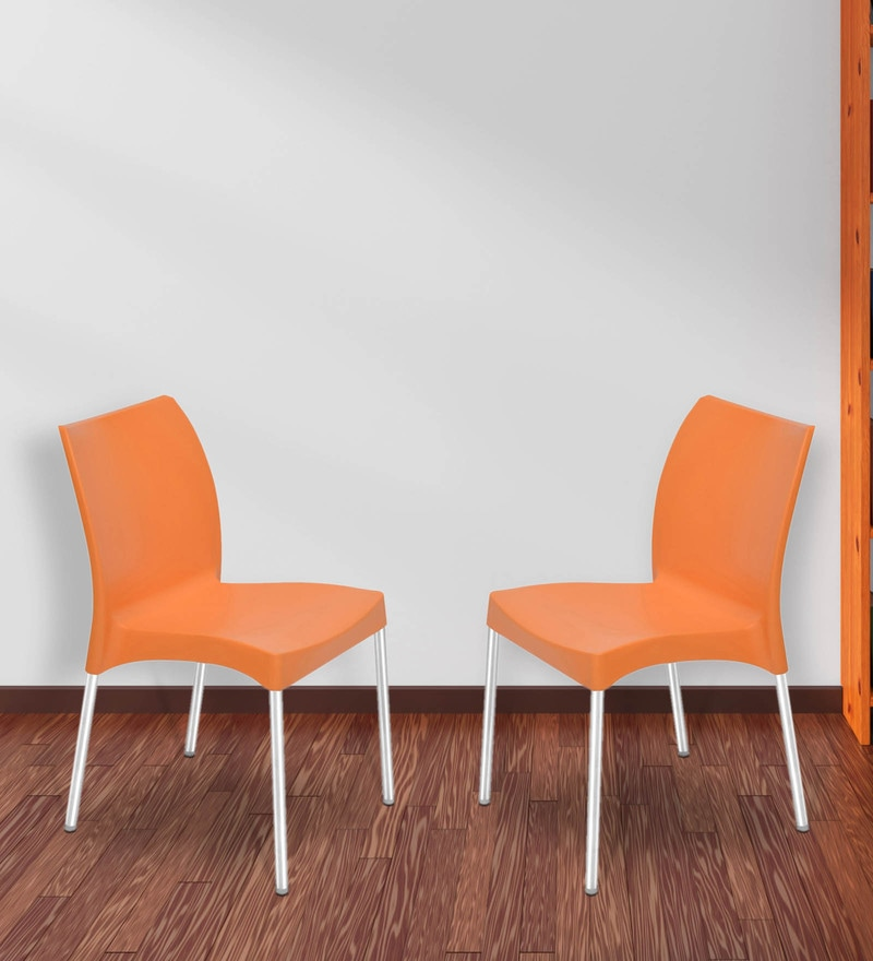 Novella Series - 7 Chair (Set of 2) in Orange Colour by Nilkamal