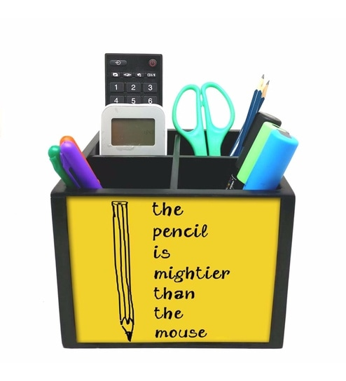 Yellow 4 Slot Pencil Wood Pen Stand By Nutcase