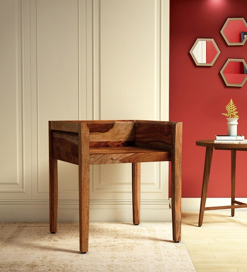 Oakland Solid Wood Dining Chair In Rustic Teak Finish By Woodsworth