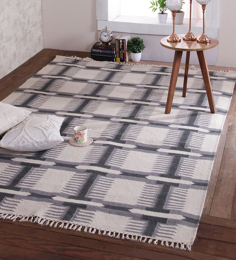 Steel Wool 96 x 60 Inch Ukrit Dhurrie by Obeetee
