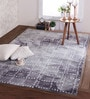 Blue & Ivory Wool 96 x 60 Inch Distress Carpet by Obeetee