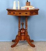 Octagonal End Table in Natural Brown Wood Polish