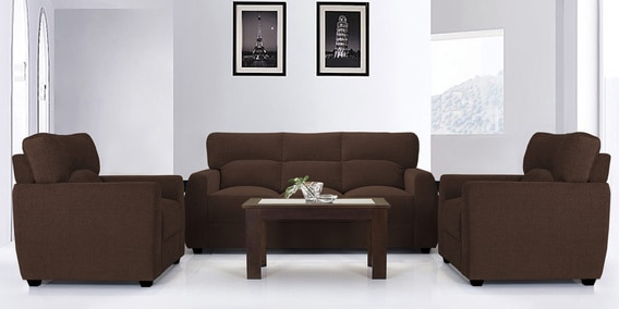 Octo Sofa Set 3 1 Seater In Dark Brown Colour By Vive Online Sets Sofas Pepperfry