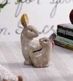 Beige Ceramic Flora & Fauna Decorative Cottontail Rabbits Figurine