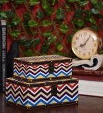 Chevron Pop Wood & Acrylic Nestable Keepsake Boxes - Set of 2