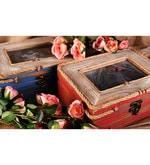 Timekeeper Wood & Glass Red Photo Box