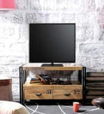 Odin Entertainment Unit in Light Brown Finish