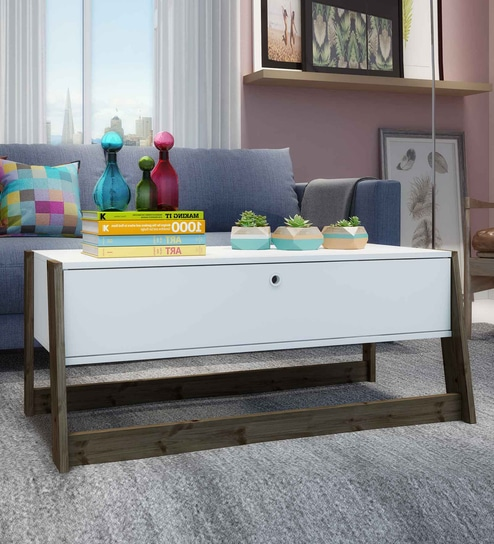 Oda Coffee Table With Drawer In White U0026 Dark Oak Finish By Mintwud
