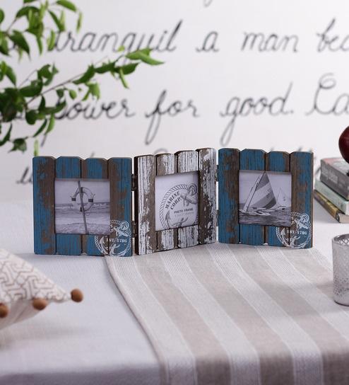 Buy Blue & White Wooden 15 x 0.5 x 5.5 Inch Marina Fence Photo Frame ...