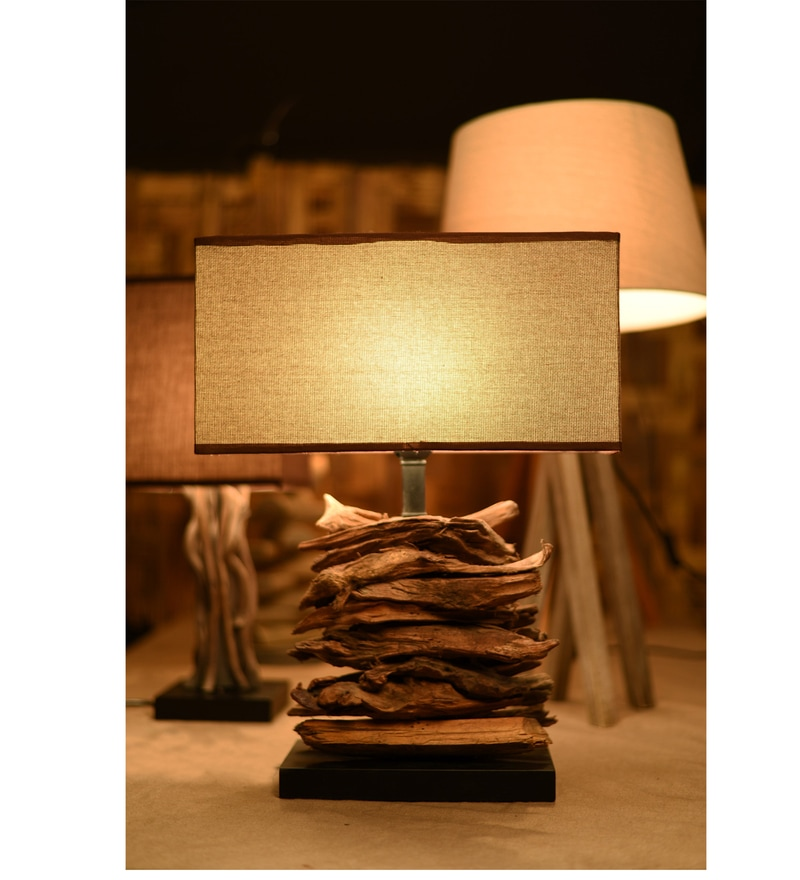 Brown Fabric Fragmented Forest Table Lamp by OddCroft