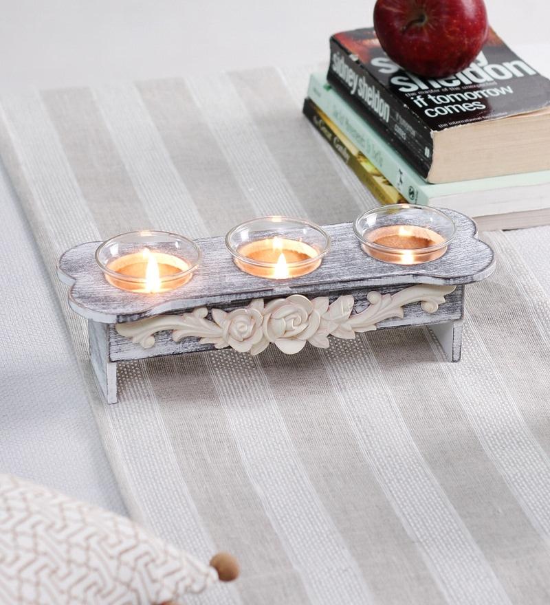 Grey Wood & Glass Panca Di Fior Tea Light Holder by OddCroft