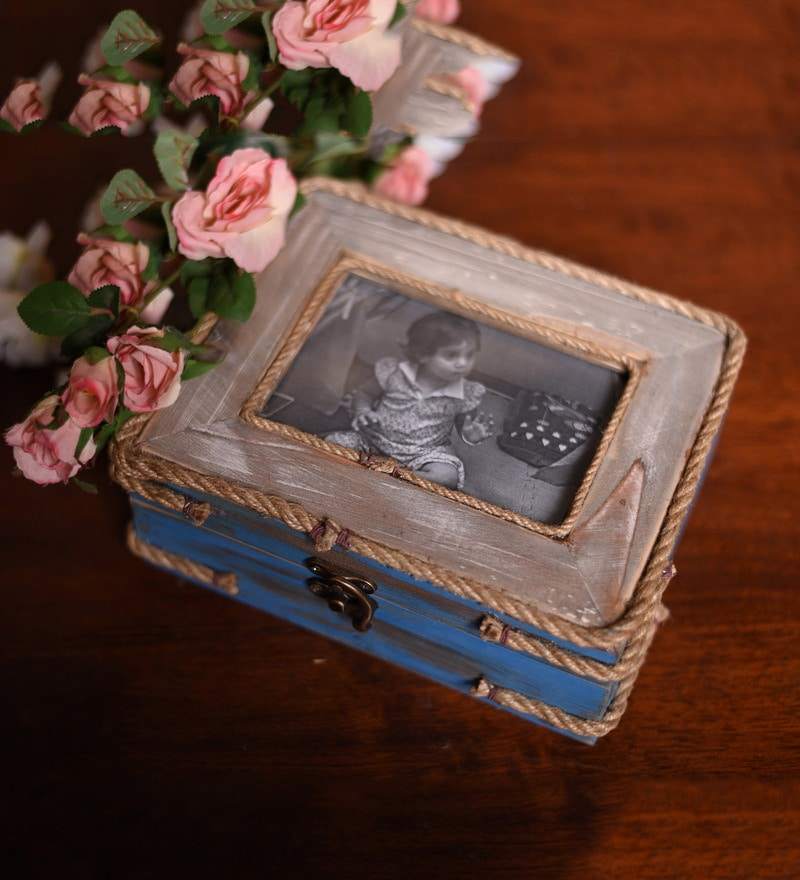 Timekeeper Wood & Glass Blue Photo Box by OddCroft