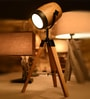 Brown Wood Table Tripod Lamp by OddCroft
