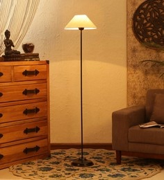 Off White Cotton Floor Lamp - 1680005