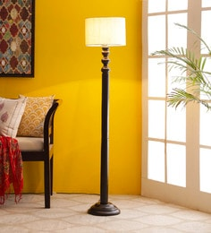 Off White Cotton Floor Lamp - 1680023