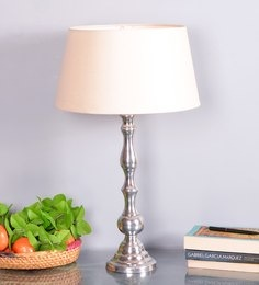 Off White Cotton Table Lamp - 1662981