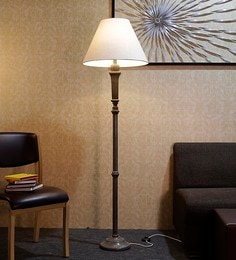 Off White Fabric Floor Lamp - 1690779
