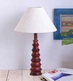 Off White Fabric Ring Table Lamp