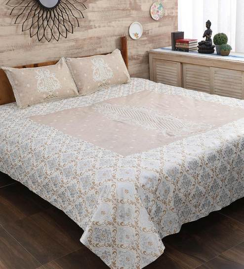 Bed Sets.Off White 100 Cotton King Size Bed Sheet Set Of 3 By Lotris