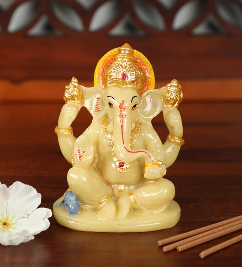 Buy Off White Marble And Polyresin Lord Ganesh Idol Figurine By