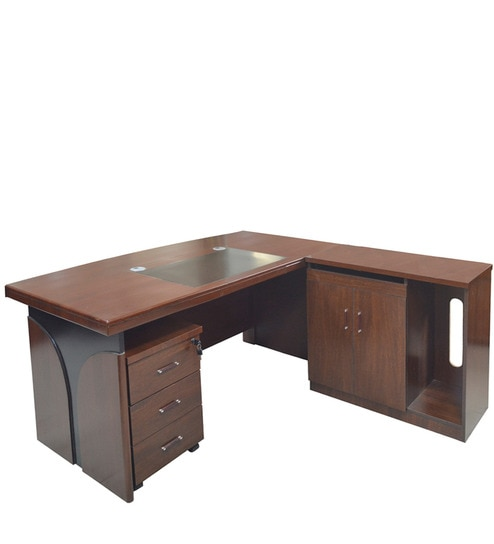 buy office desk. Office Desk With Pedestal U0026 Side Runner In Brown Colour By Eros Buy