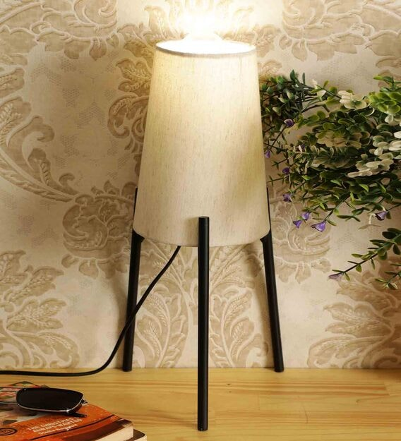 Off White Fabric Shade Contemporary, Contemporary Floor Lamp With Table