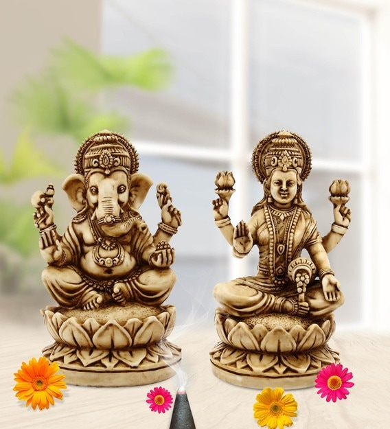 Buy Off White Resin Lakshmi Ganesh Carved In Resin Idol By Handicrafts Paradise Online Other Dieties Religious Idols Home Decor Pepperfry Product