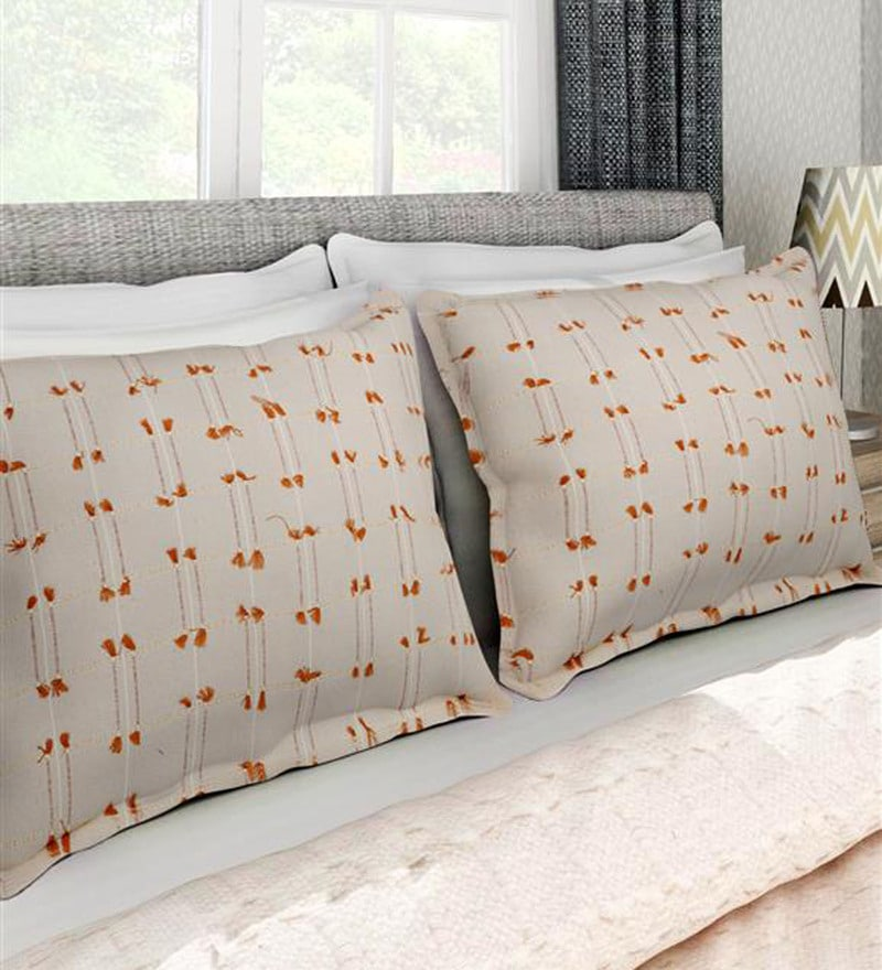 Off White 100% Cotton 17 x 27 Inch Pillow Cover - Set of 2 by Soumya