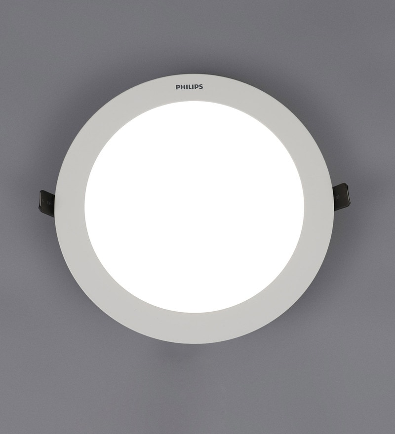 Off White Aluminum Ultra Slim Plus 15 W Recessed Ceiling Light by Philips