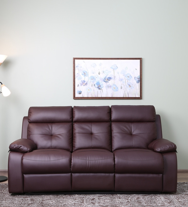Sensational Ohio 3 Seater Recliner In Brown Colour By Recliners India Unemploymentrelief Wooden Chair Designs For Living Room Unemploymentrelieforg