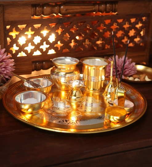 Multicolour Stainless Steel Gold \u0026 Silver Plated Puja Set by Ojas & Buy Ojas Multicolour Stainless Steel Gold \u0026 Silver Plated Puja Set ...