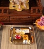 Gold & Silver Plated Stainless Steel Swastik Pooja Thali by Ojas